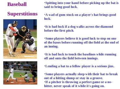 Baseball Superstitions Spitting into your hand before picking up the bat is s...