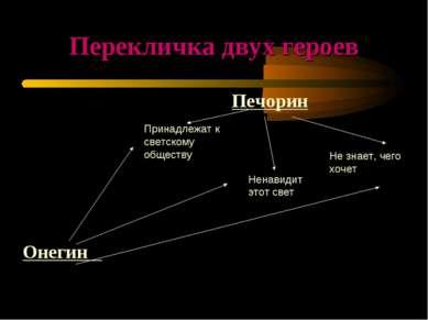 Перекличка двух героев Онегин Печорин Принадлежат к светскому обществу Ненави...