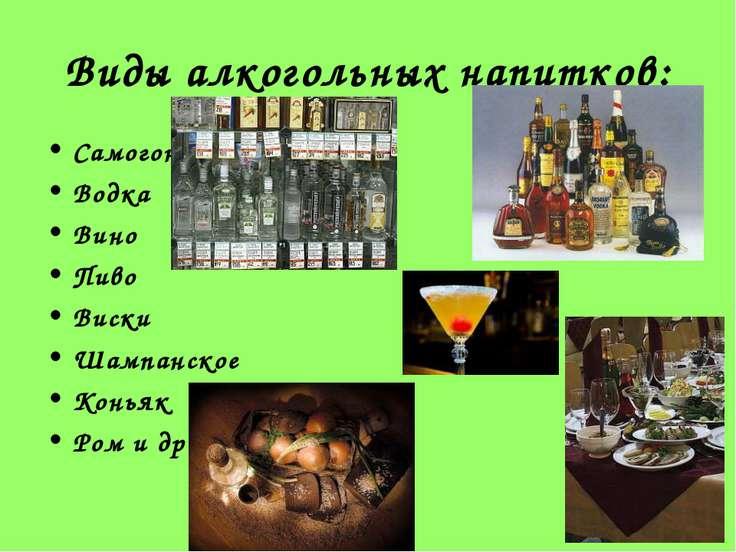 Виды алкогольных напитков: Самогон Водка Вино Пиво Виски Шампанское Коньяк Ро...