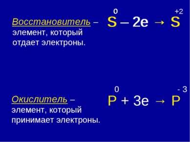 Восстановитель – элемент, который отдает электроны. Окислитель – элемент, кот...