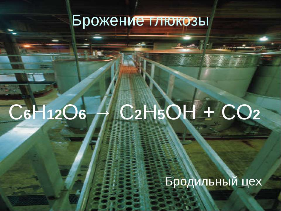 Брожение глюкозы Бродильный цех C6H12O6 → C2H5OH + CO2