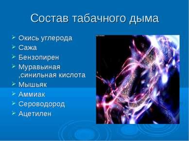 Состав табачного дыма Окись углерода Сажа Бензопирен Муравьиная ,синильная ки...
