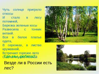Чуть солнце пригрело откосы И стало в лесу потемней, Березка зеленые косы Раз...