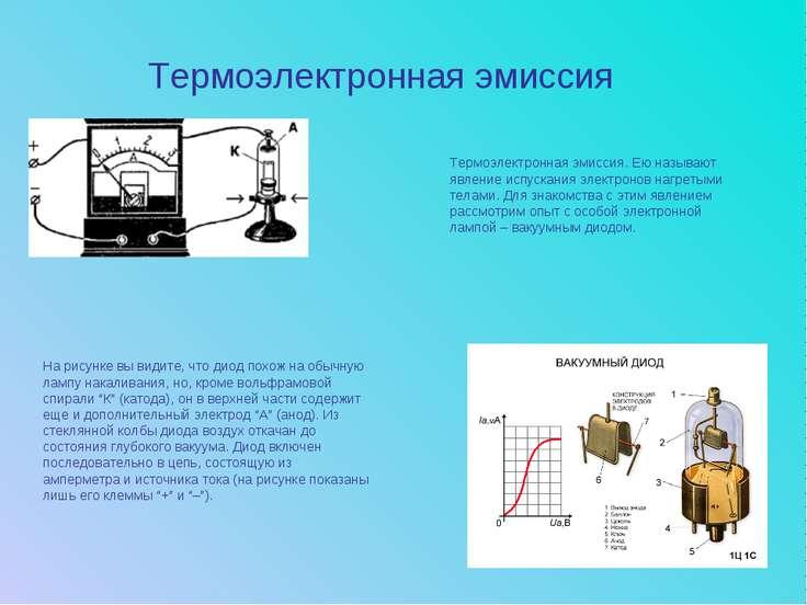 Термоэлектронная эмиссия На рисунке вы видите, что диод похож на обычную ламп...