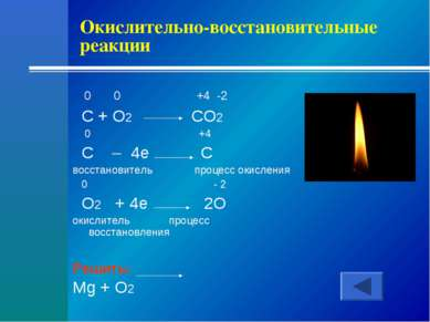 Окислительно-восстановительные реакции 0 0 +4 -2 C + O2 CO2 0 +4 C – 4e C вос...