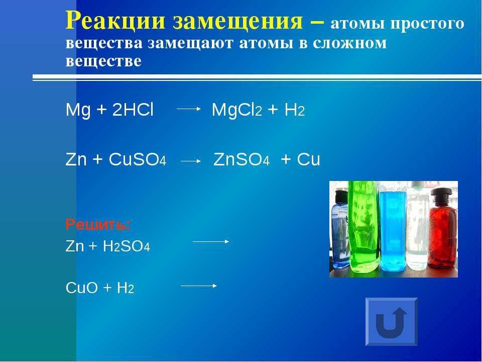 Реакции замещения – атомы простого вещества замещают атомы в сложном веществе...
