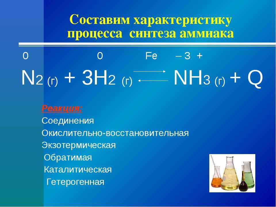 Составим характеристику процесса синтеза аммиака 0 0 Fe – 3 + N2 (г) + 3H2 (г...
