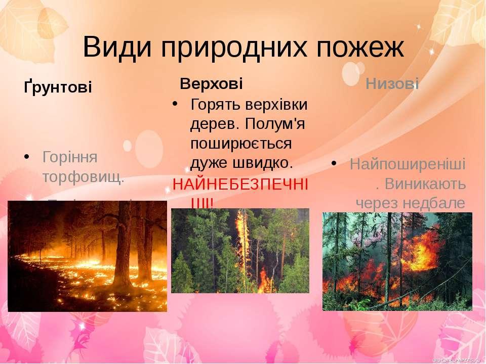 Види природних пожеж Ґрунтові Горіння торфовищ. Такі пожежі дуже важко загаси...