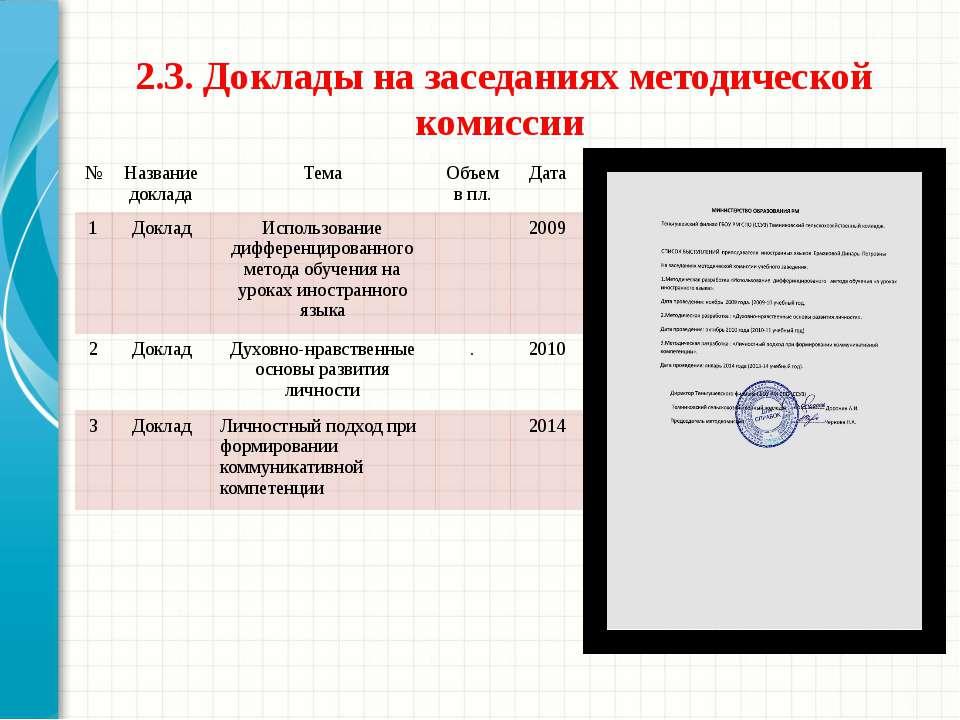 2.3. Доклады на заседаниях методической комиссии № Название доклада Тема Объе...
