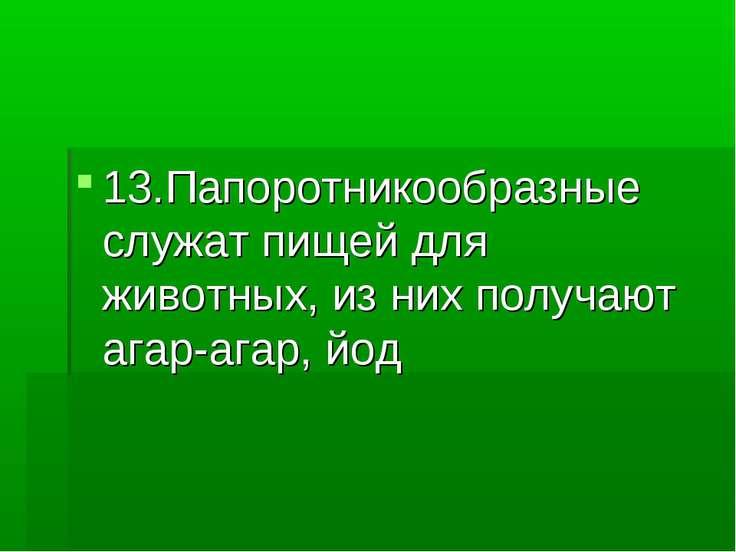 13.Папоротникообразные служат пищей для животных, из них получают агар-агар, йод