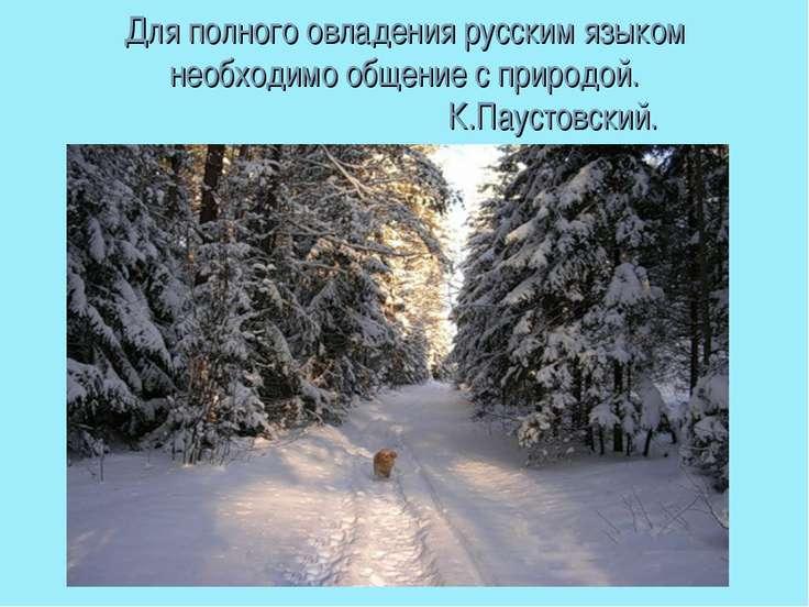 Для полного овладения русским языком необходимо общение с природой. ...