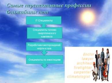 Самые перспективные профессии ближайших лет IT-Специалисты Специалисты топлив...
