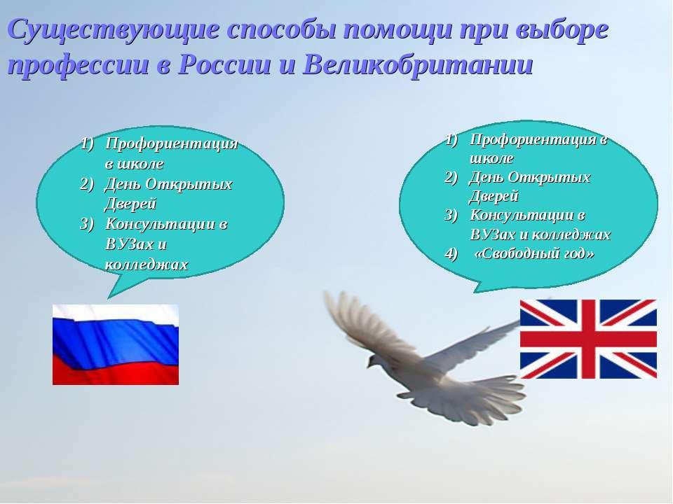 Существующие способы помощи при выборе профессии в России и Великобритании Пр...