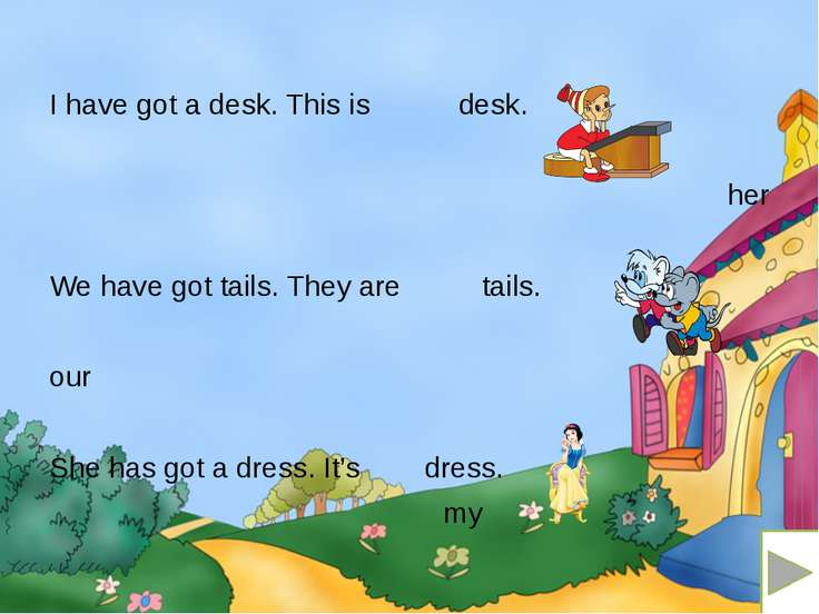 I have got a desk. This is desk. her We have got tails. They are tails. our S...