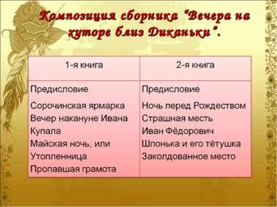"""Композиция сборника """"Вечера на хуторе близ Диканьки""""."""
