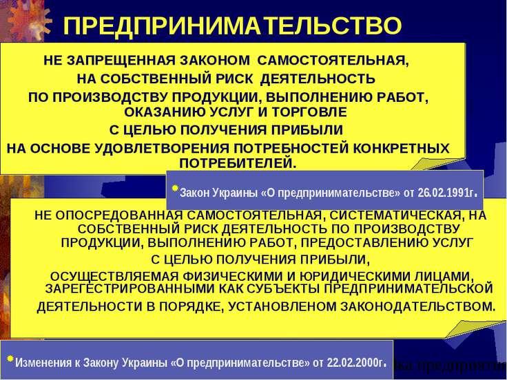 ПРЕДПРИНИМАТЕЛЬСТВО Закон Украины «О предпринимательстве» от 26.02.1991г. НЕ ...