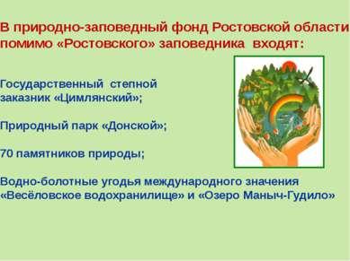 В природно-заповедный фонд Ростовской области помимо «Ростовского» заповедник...