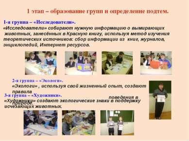 1 этап – образование групп и определение подтем. 1-я группа – «Исследователи»...