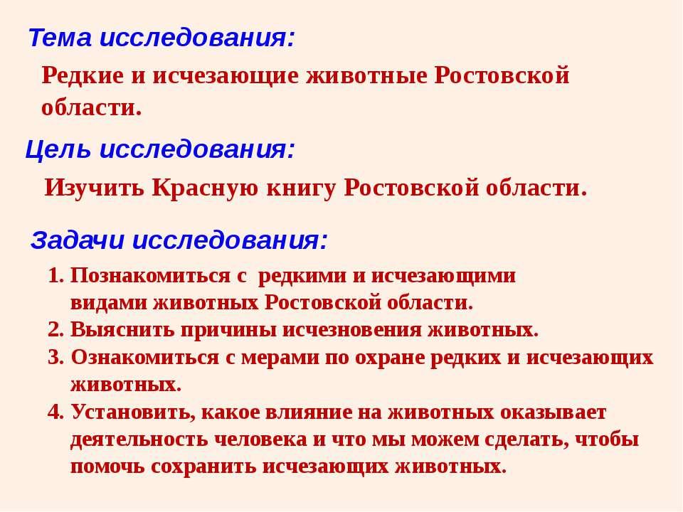 Редкие и исчезающие животные Ростовской области. Тема исследования: Цель иссл...