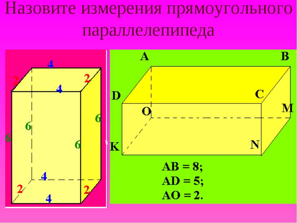 Назовите измерения прямоугольного параллелепипеда