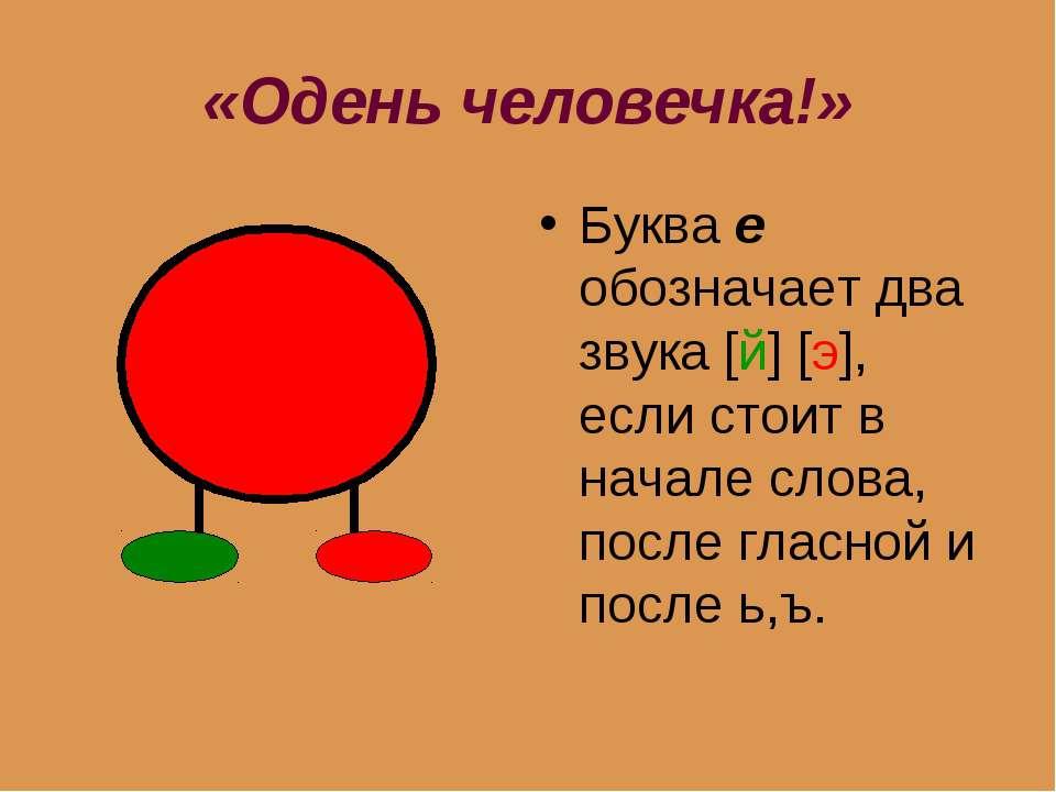 «Одень человечка!» Буква е обозначает два звука [й] [э], если стоит в начале ...