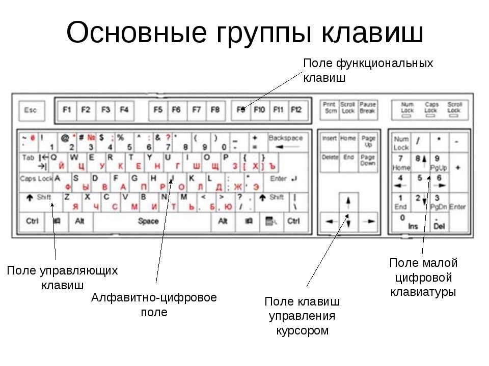 Основные группы клавиш Алфавитно-цифровое поле Поле управляющих клавиш Поле к...