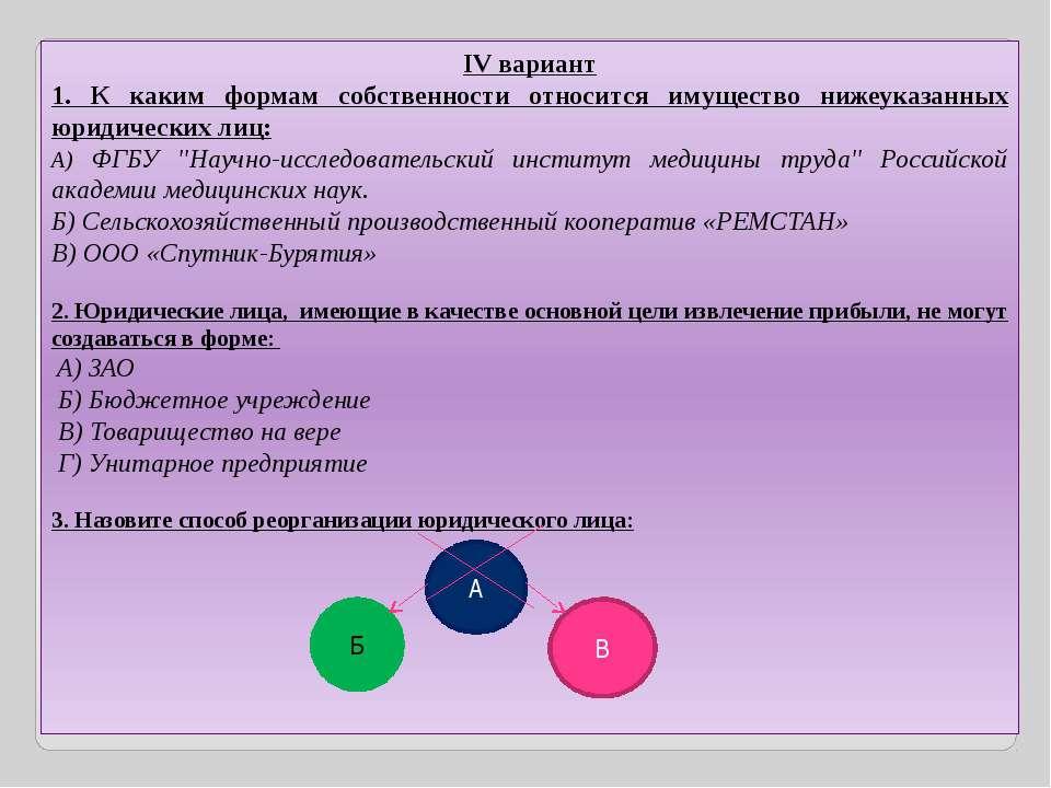 IV вариант 1. К каким формам собственности относится имущество нижеуказанных ...