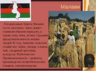 Малави Плодородные берега Малави густо заселены. Здесь живет главным образов ...