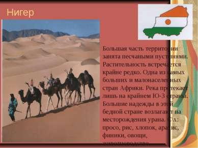 Нигер Большая часть территории занята песчаными пустынями. Растительность вст...