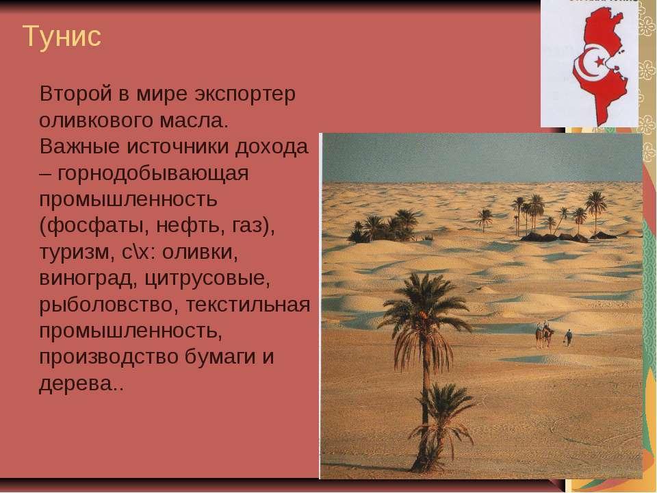 Тунис Второй в мире экспортер оливкового масла. Важные источники дохода – гор...
