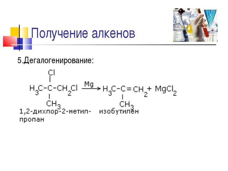 Получение алкенов 5.Дегалогенирование: