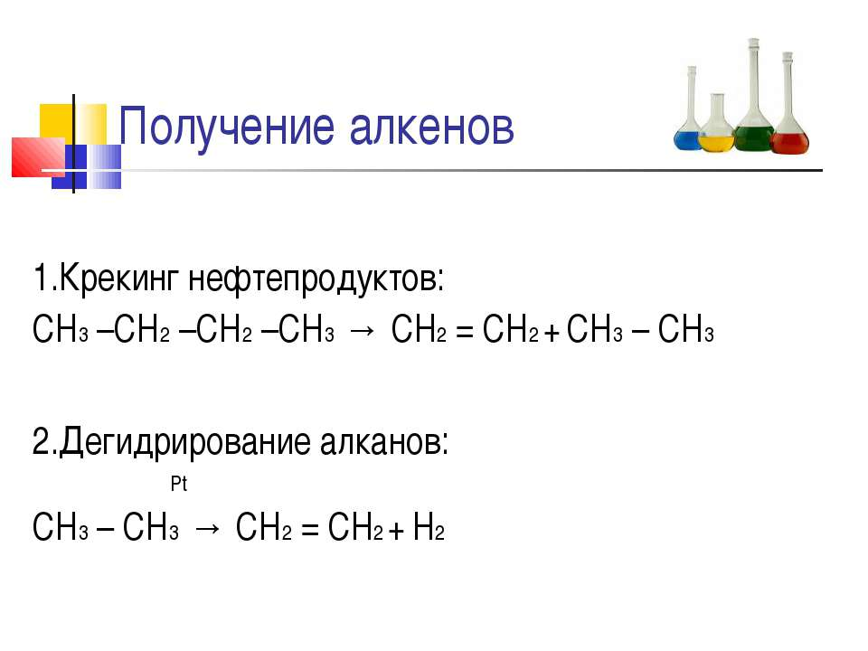 Получение алкенов 1.Крекинг нефтепродуктов: СН3 –СН2 –СН2 –СН3 → СН2 = СН2 + ...