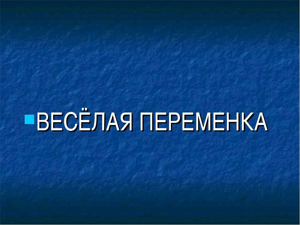 ВЕСЁЛАЯ ПЕРЕМЕНКА