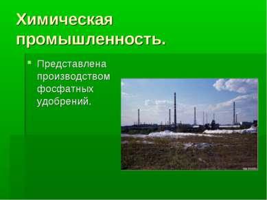 Химическая промышленность. Представлена производством фосфатных удобрений.