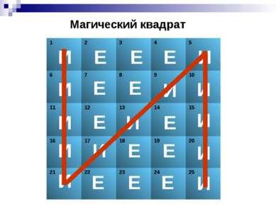 Магический квадрат И И И И И И И И И И И И И Е Е Е Е Е Е Е Е Е Е Е Е 1 2 3 4 ...