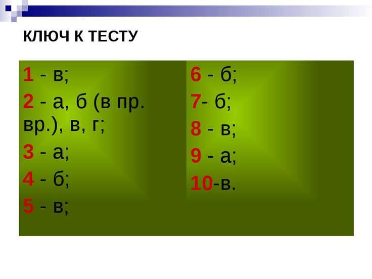 КЛЮЧ К ТЕСТУ 1- в; 2- а, б (в пр. вр.), в, г; 3- а; 4- б; 5- в; 6- б; 7- б; 8...