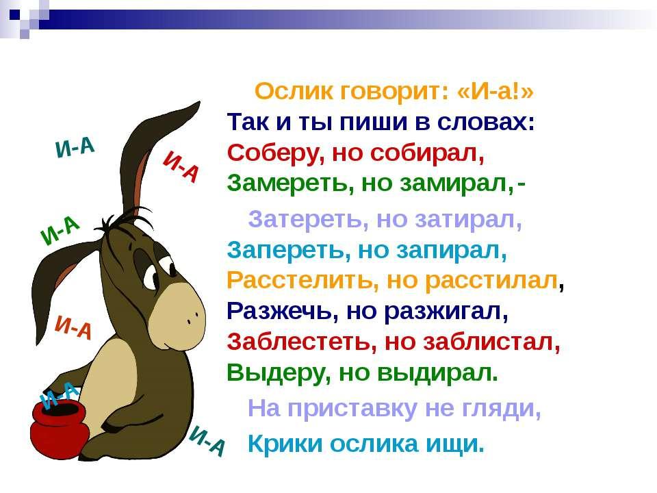 Ослик говорит: «И-а!» Так и ты пиши в словах: Соберу, но собирал, Замереть, н...