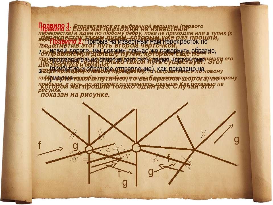 Правило 1.Отправляемся от выбранной вершины (первого перекрестка) и идем по ...