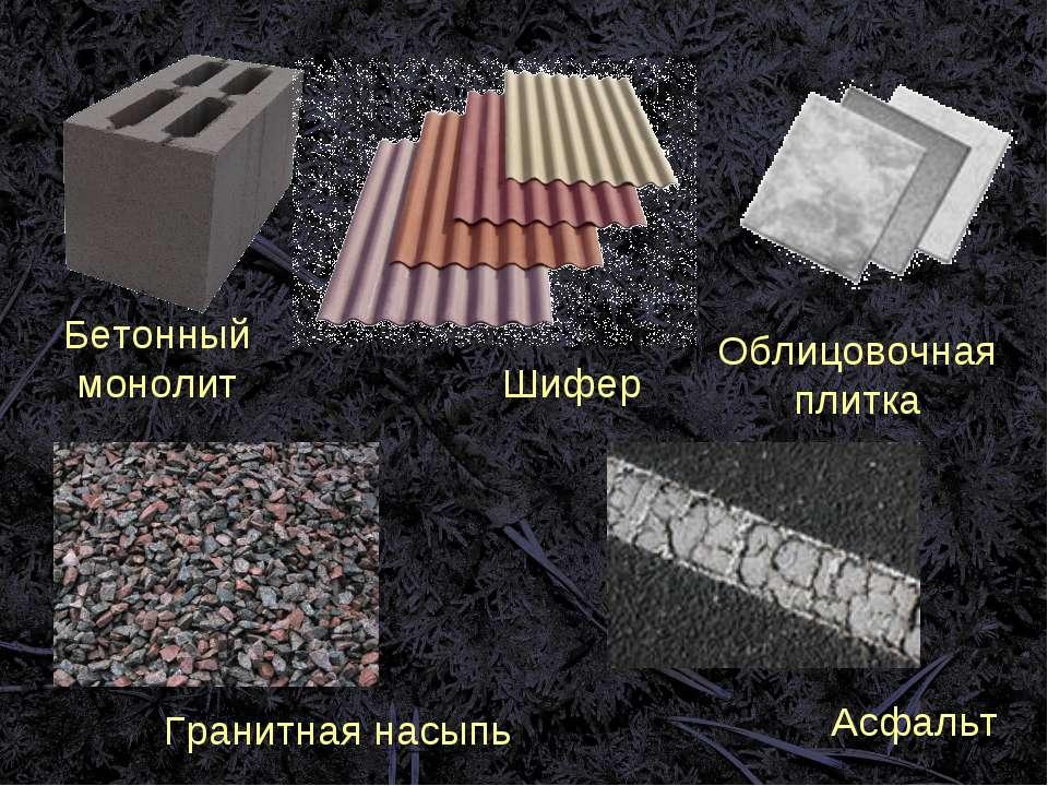Бетонный монолит Шифер Облицовочная плитка Гранитная насыпь Асфальт