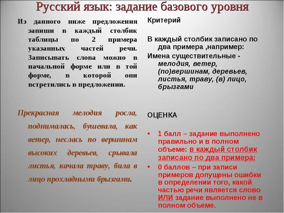 Русский язык: задание базового уровня Из данного ниже предложения запиши в ка...