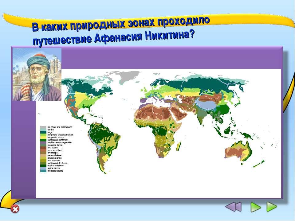 В каких природных зонах проходило путешествие Афанасия Никитина?