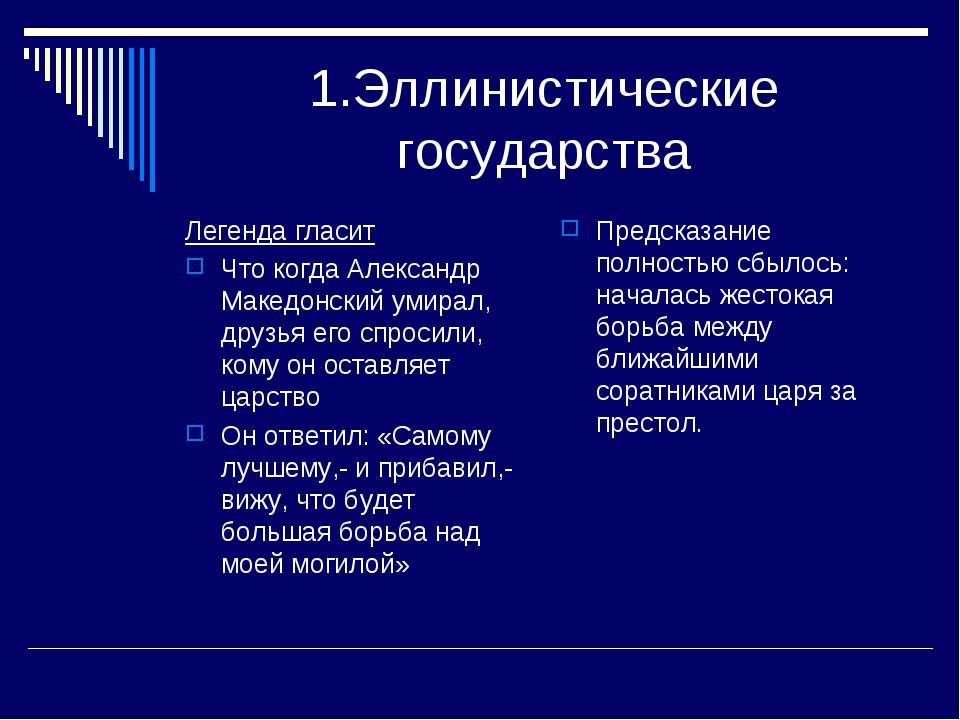 1.Эллинистические государства Легенда гласит Что когда Александр Македонский ...