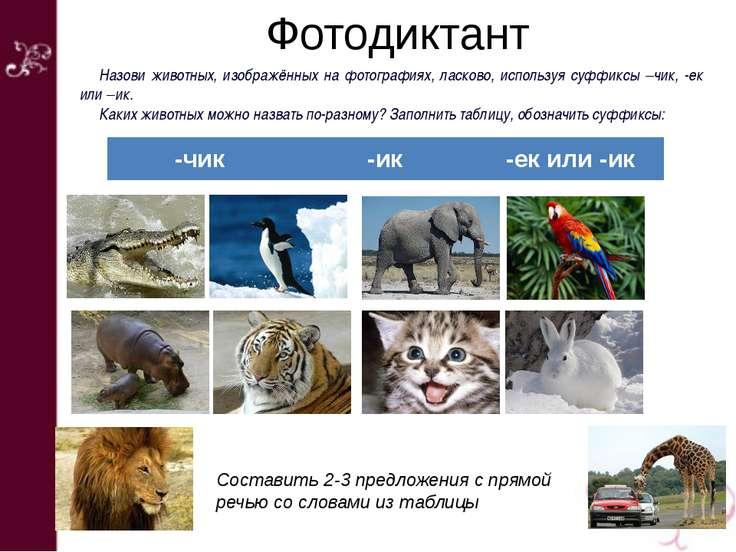 Фотодиктант Назови животных, изображённых на фотографиях, ласково, используя ...