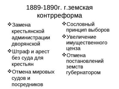 1889-1890г. г.земская контрреформа Замена крестьянской администрации дворянск...