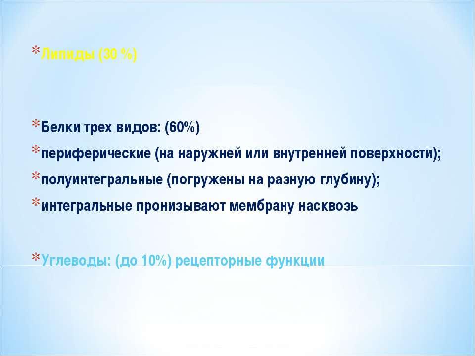 Липиды (30 %) Белки трех видов: (60%) периферические (на наружней или внутрен...