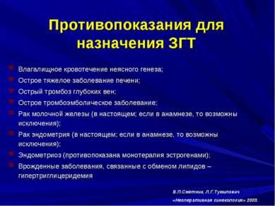 Противопоказания для назначения ЗГТ Влагалищное кровотечение неясного генеза;...