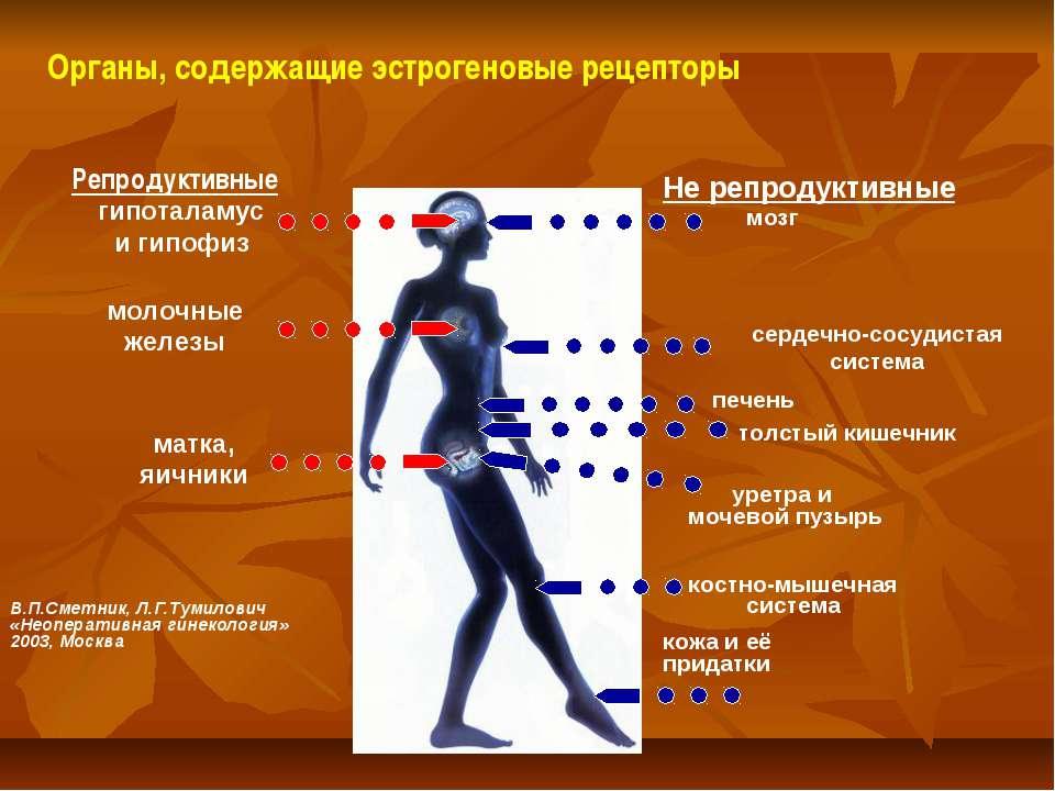 Органы, содержащие эстрогеновые рецепторы Репродуктивные Не репродуктивные ги...