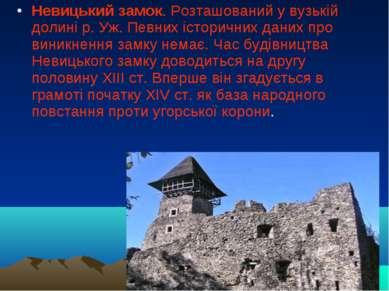 Невицький замок. Розташований у вузькій долині р. Уж. Певних історичних даних...