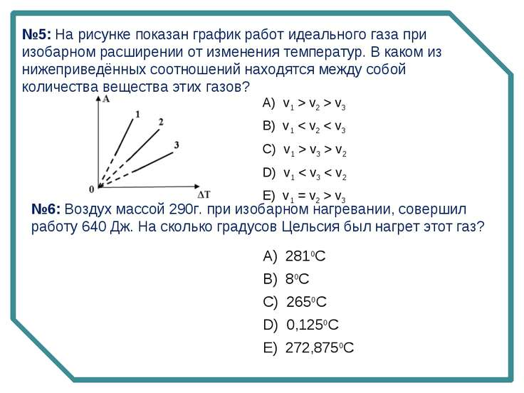 №5: На рисунке показан график работ идеального газа при изобарном расширении ...