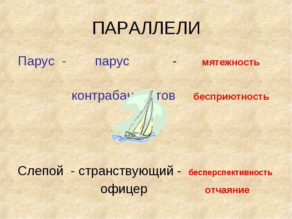 ПАРАЛЛЕЛИ Парус - парус - мятежность контрабандистов бесприютность Слепой - с...